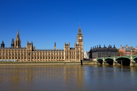 westminster: London view, Big Ben, Parliament, bridge and river Thames Stock Photo