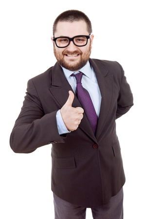 young silly business man going thumb up Stock Photo - 10184606