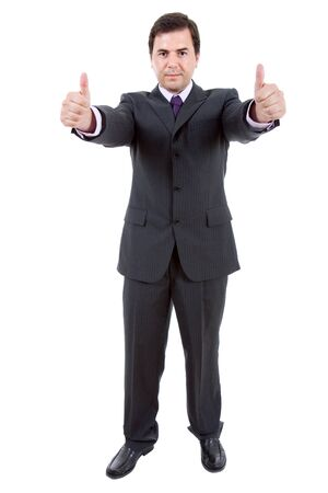 young business man going thumbs up, isolated photo