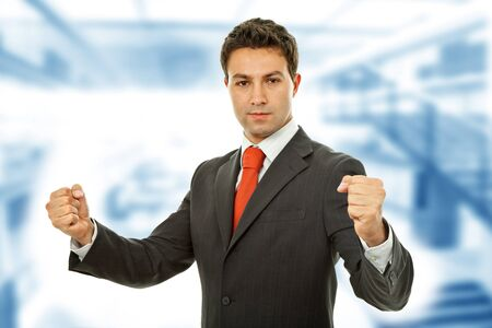successful business man with open arms isolated on white Stock Photo - 10327009