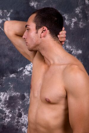 an young sensual man close up portrait photo