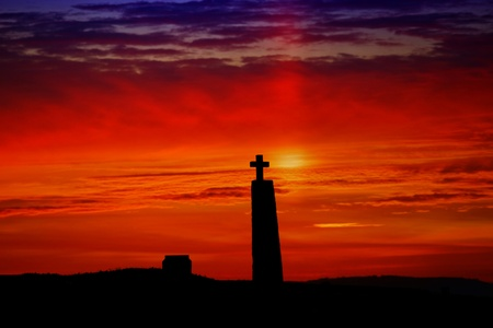 cross silhouette with the sunset as background Stock Photo - 10400748