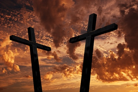cross silhouette with the sunset as background Stock Photo - 10400752