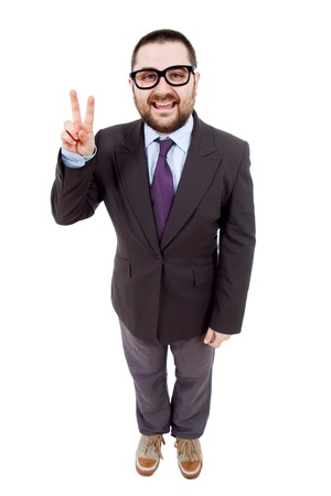 young business man full body isolated on white background photo