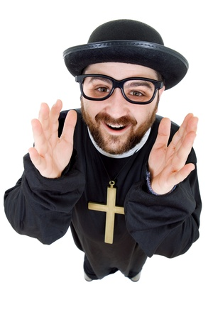 christian halloween: young man dressed as priest, isolated on white