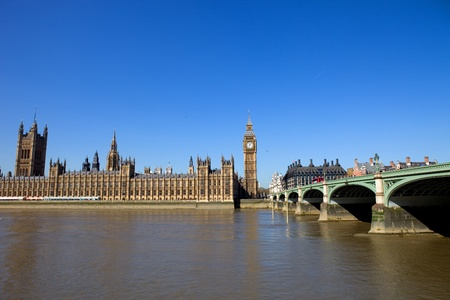 London view, Big Ben, Parliament, bridge and river Thames Stock Photo