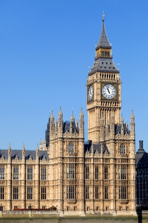 london, big ben clock at the westminster city photo