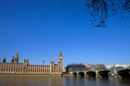 London view, Big Ben, Parliament, bridge and river Thames photo
