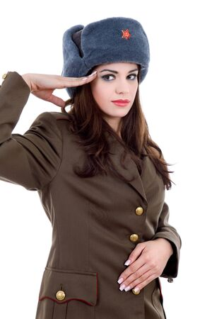 young beautiful woman, dressed as russian military photo