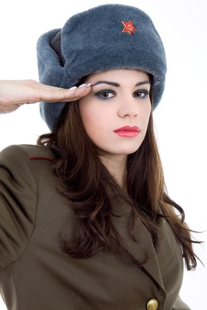 young beautiful woman, dressed as russian military Stock Photo - 10549296