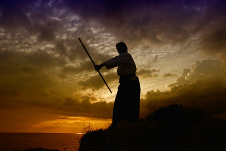 young aikido man fighter at sunset light