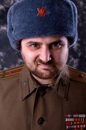 young man dressed as russian military, studio Stock Photo - 10587886