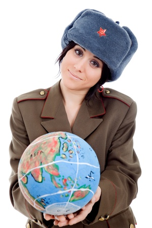 pretty young woman holding the world in her hands photo