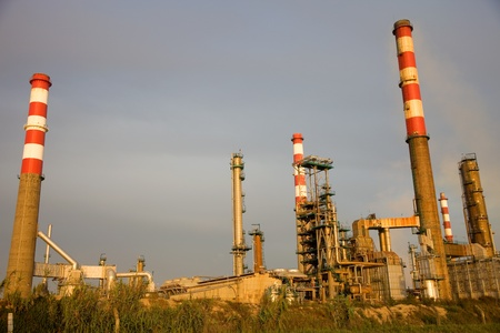 portuguese industrial power plant at sunset light photo