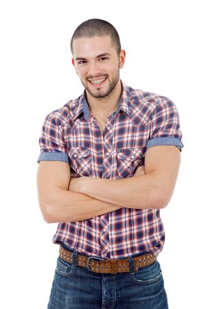 young casual man portrait, isolated on white Stock Photo - 10661111