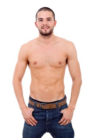 cuerpo hombre: joven sensual sobre un fondo blanco