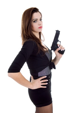 young beautiful woman with a gun, isolated 스톡 콘텐츠