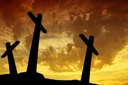 cross silhouette with the sunset as background Stock Photo - 10809578