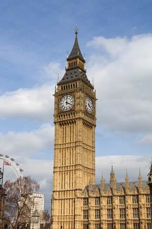 london, big ben clock at the westminster city photo