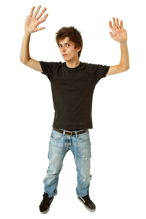 casual young man full body with big hands Stock Photo - 10926101