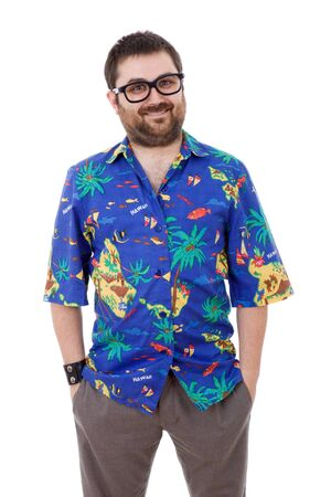 young silly man with a hawaiian shirt, isolated photo