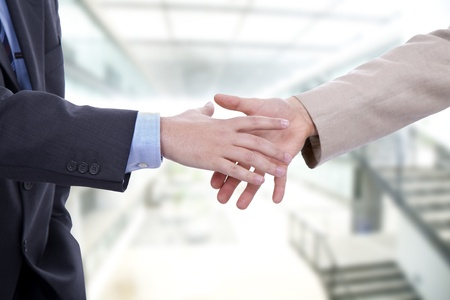 Business men hand shake at the office photo