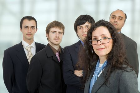 business team at the office, focus on the woman photo