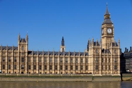 London view, Big Ben, Parliament and river Thames photo