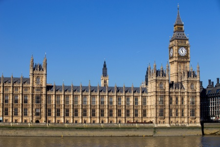 large house: London view, Big Ben, Parliament and river Thames Stock Photo
