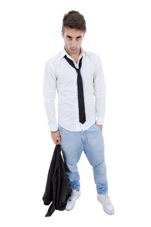 young casual man full body in a white background Stock Photo - 11282273