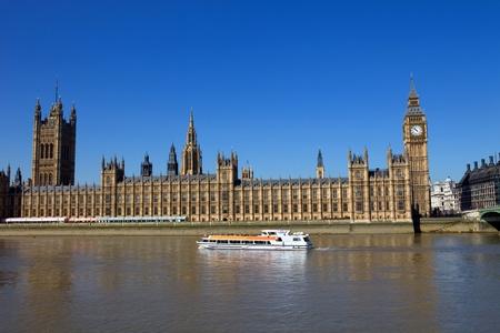 ロンドン ビュー、ビッグベン、国会議事堂、ボート、テームズ川
