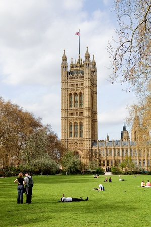 London: people at the gardens of the Parliament at the Westminster city Stock Photo - 11728602