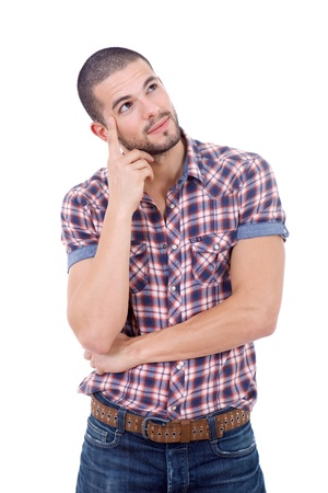 young casual man portrait, isolated on white Stock Photo