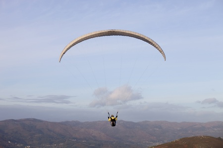 paradglider: Paragliding Cross-country Portuguese League, in the north of Portugal, December 17, 2011, Caldelas, Portugal. Editorial