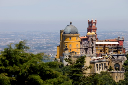 Famous palace of Pena in Sintra, Portugal 스톡 콘텐츠