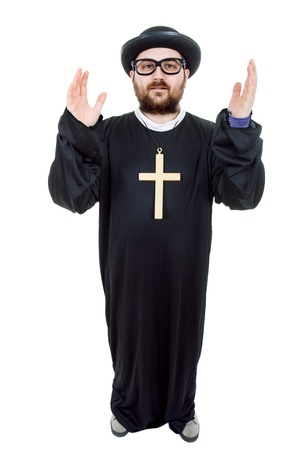 young man dressed as priest, full length, isolated on white photo