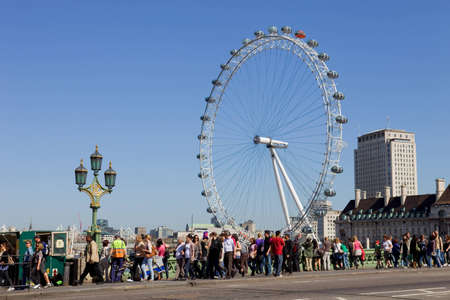 millennium wheel: the london eye and the thames river in london, UK