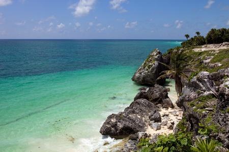 mexico beach: small Mexico beach at Tulum ruins, Yucatan Stock Photo