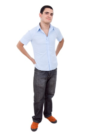 young casual man full length, isolated on white background Stock Photo