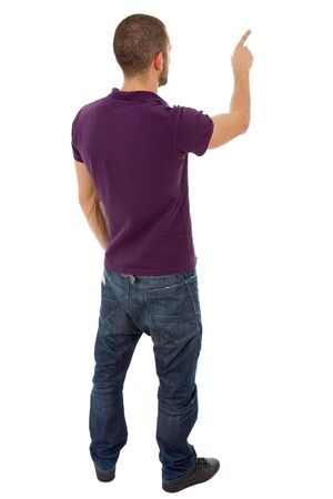 standing man: young casual man full body pointing, isolated on white Stock Photo