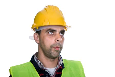 young worker portrait in a white background Stock Photo - 13653445