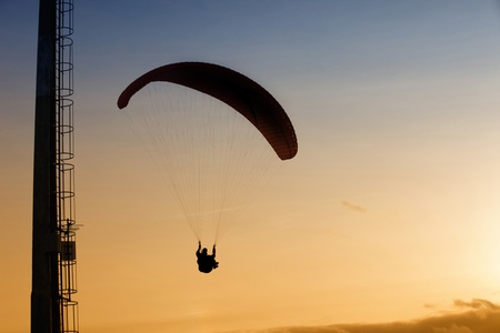 paradglider: Paragliding Cross-country Portuguese League, in the north of Portugal Stock Photo