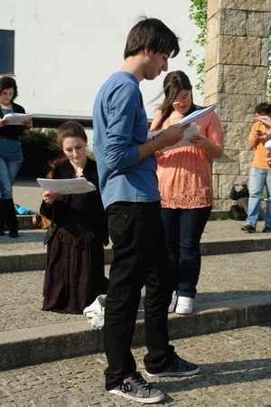 Actors rehearsal at Uminho, Uminho Actors Group rehearsal William Shakespeare Stock Photo - 13744431