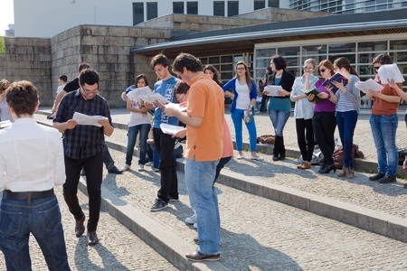 rehearsal: Actors rehearsal at Uminho, Uminho Actors Group rehearsal William Shakespeare Editorial