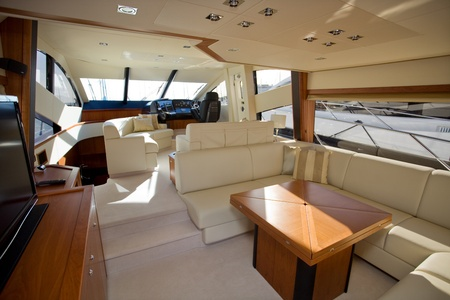 inside of a luxury boat, beautiful cabine interior