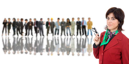 business woman in front of a group of people Stock Photo - 13876060