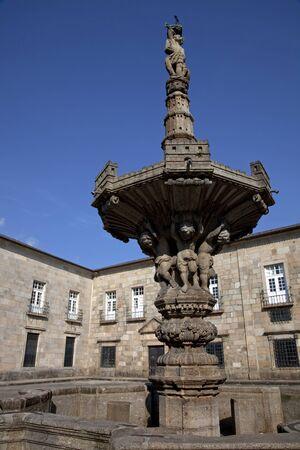 university fountain: fountain of largo do paco building, home of university of Minho in Braga, north of Portugal, near Guimaraes Editorial