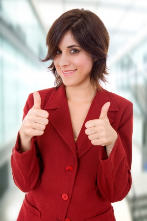 young business woman portrait going thumbs up Stock Photo - 14122785