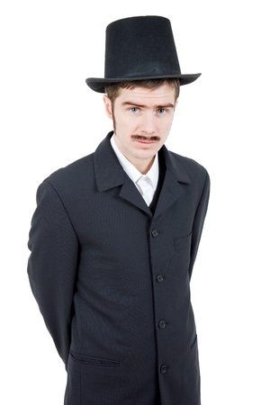 mormon: young man dressed as vintage groom, isolated