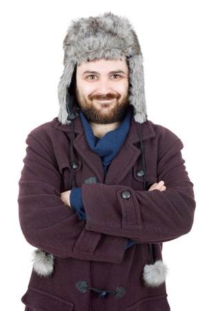 russian hat: young casual man portrait with a russian hat